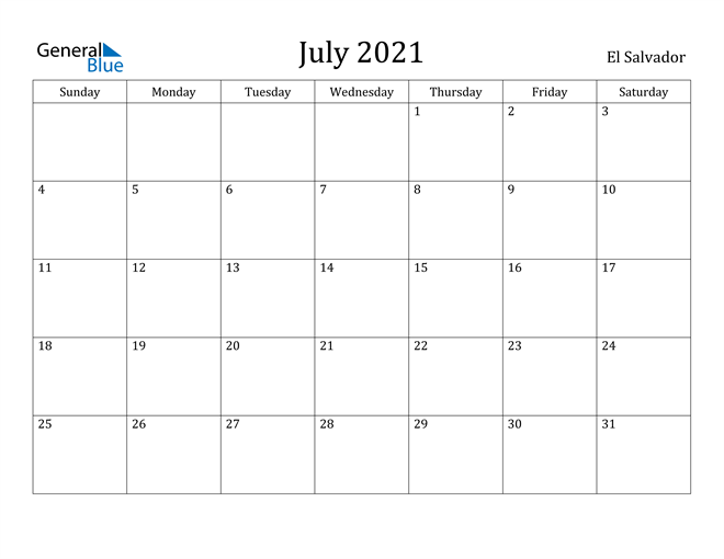 Image of July 2021 El Salvador Calendar with Holidays Calendar