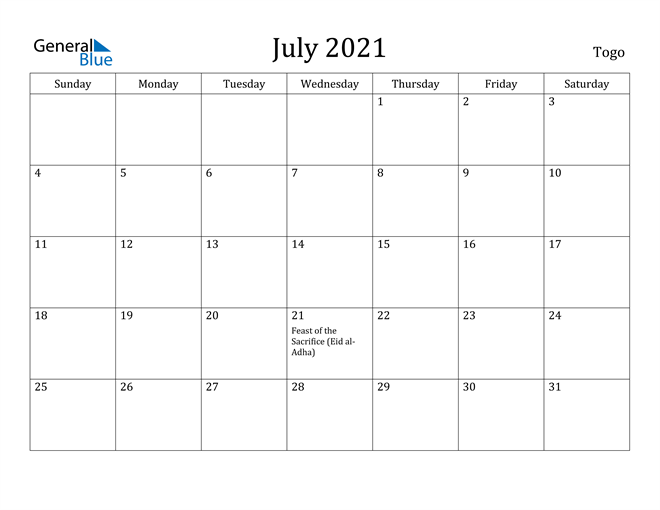 Image of July 2021 Togo Calendar with Holidays Calendar