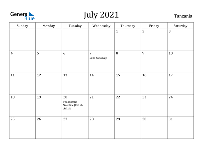 Image of July 2021 Tanzania Calendar with Holidays Calendar