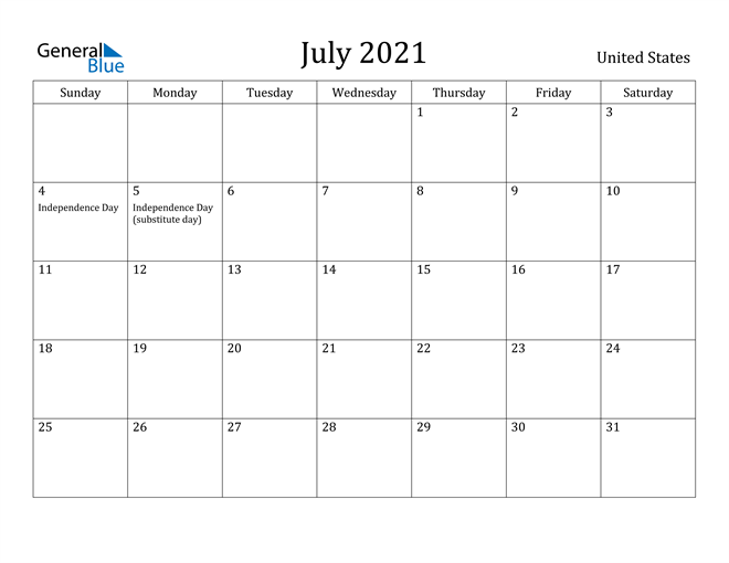 Image of July 2021 United States Calendar with Holidays Calendar