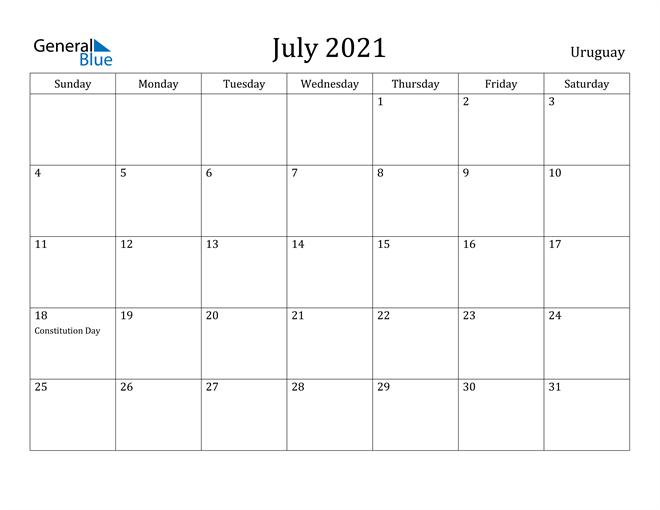 Image of July 2021 Uruguay Calendar with Holidays Calendar