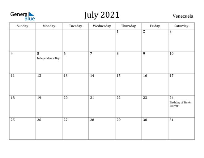 Image of July 2021 Venezuela Calendar with Holidays Calendar