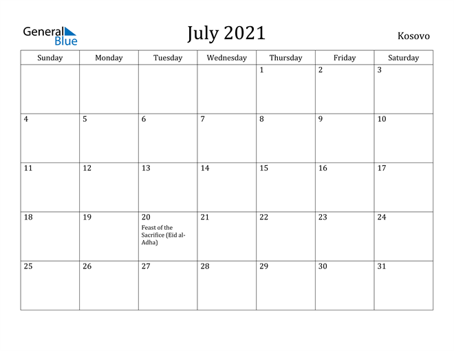 Image of July 2021 Kosovo Calendar with Holidays Calendar