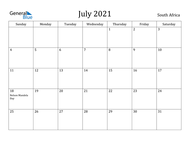 Image of July 2021 South Africa Calendar with Holidays Calendar