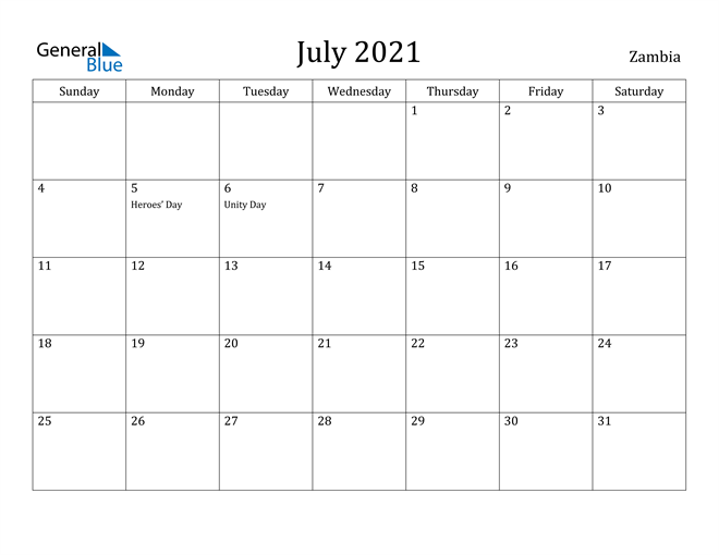 Image of July 2021 Zambia Calendar with Holidays Calendar