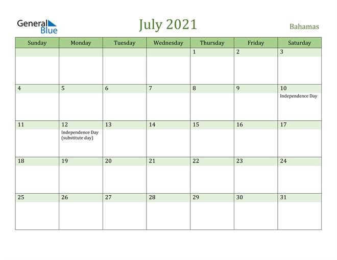 July 2021 Calendar with Bahamas Holidays