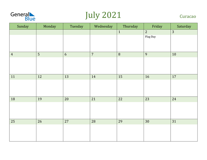 Image of July 2021 Cool and Relaxing Green Calendar Calendar
