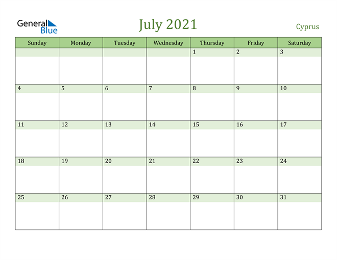 July 2021 Calendar with Cyprus Holidays