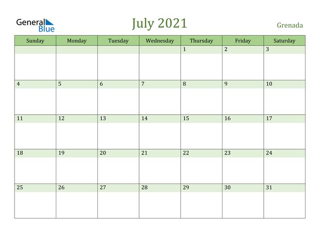 July 2021 Calendar with Grenada Holidays