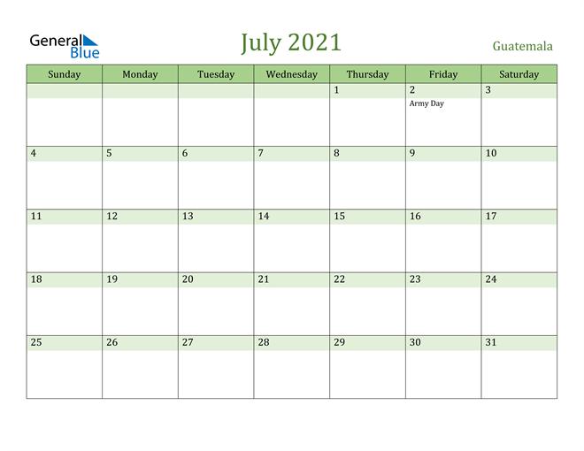 July 2021 Calendar with Guatemala Holidays