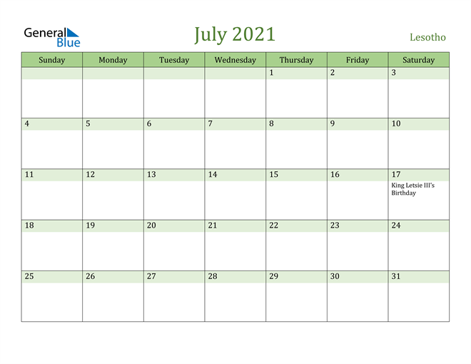 July 2021 Calendar with Lesotho Holidays