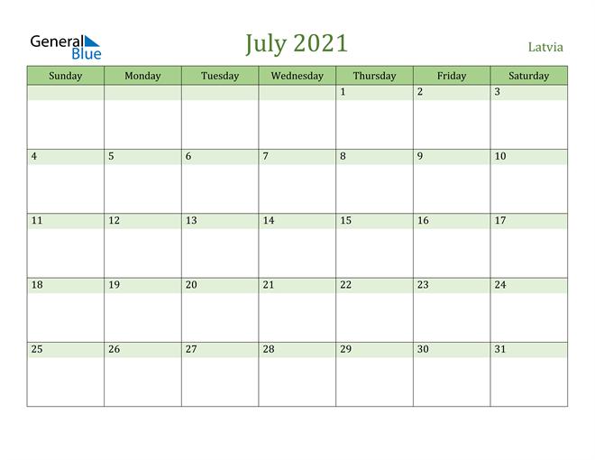 July 2021 Calendar with Latvia Holidays