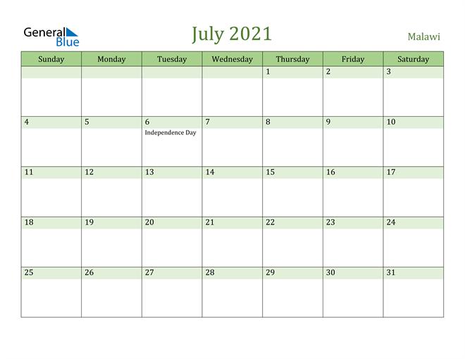 July 2021 Calendar with Malawi Holidays
