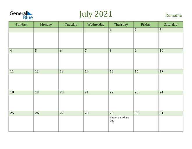 July 2021 Cool and Relaxing Green Calendar Calendar