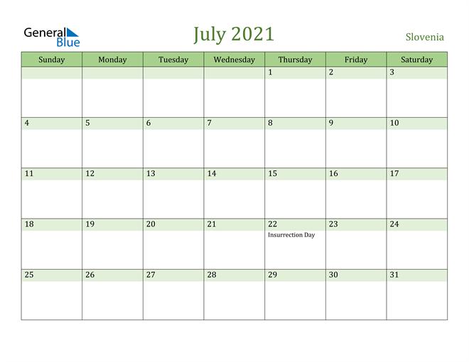 July 2021 Calendar with Slovenia Holidays