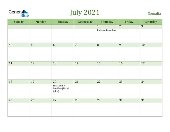 July 2021 Calendar with Somalia Holidays