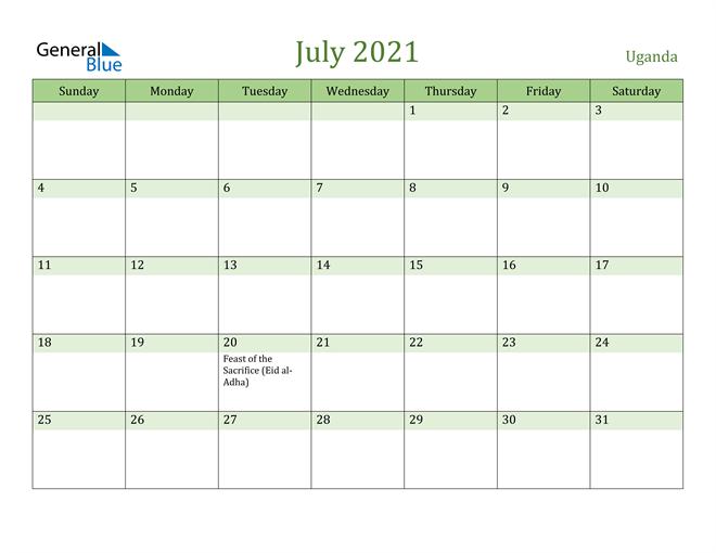 July 2021 Calendar with Uganda Holidays