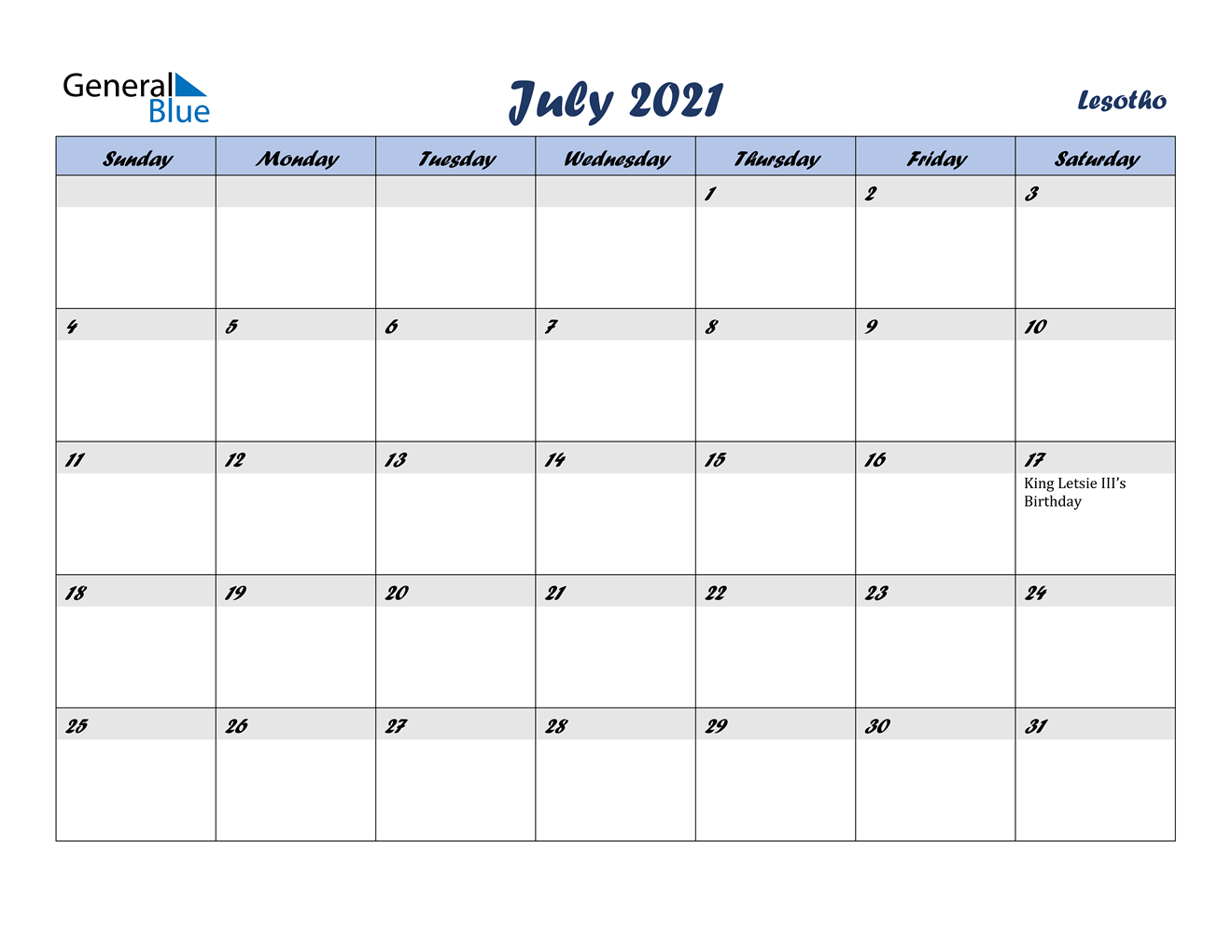 July 2021 Calendar - Lesotho