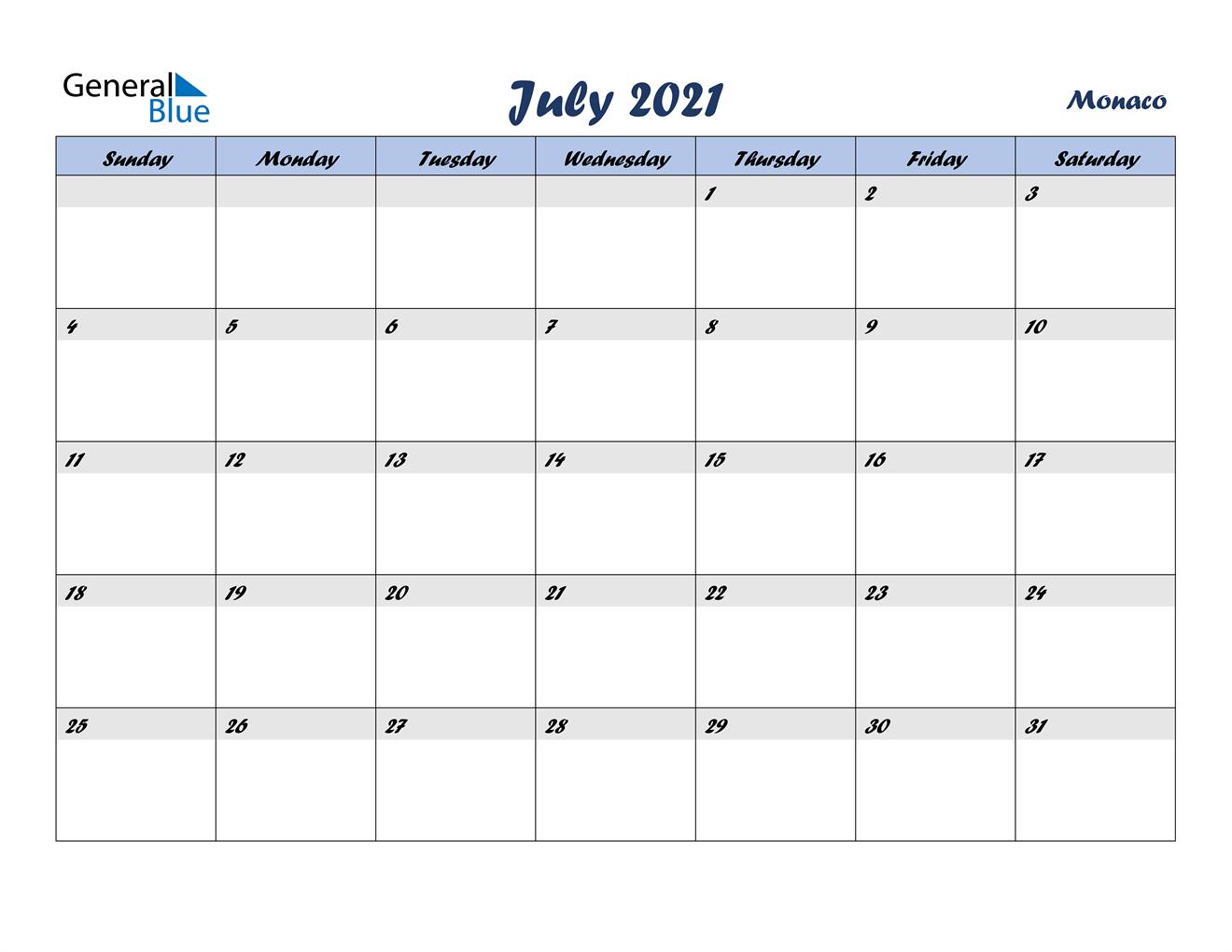 July 2021 Calendar - Monaco