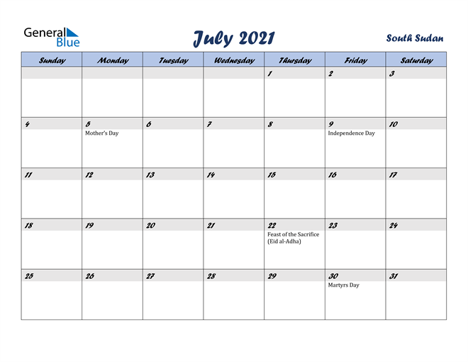 Image of July 2021 Italicized and Cool Blue, A Fun Calendar in PDF, Word and Excel Calendar