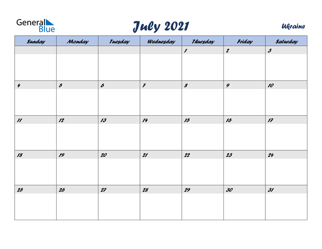 July 2021 Italicized and Cool Blue, A Fun Calendar in PDF, Word and Excel Calendar
