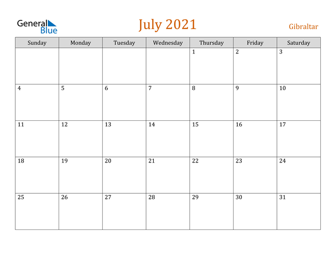 Image of July 2021 Contemporary Orange PDF, Word and Excel Calendar Calendar