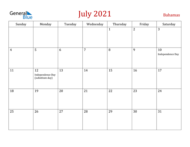 Bahamas July 2021 Calendar