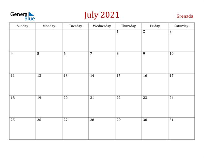 Grenada July 2021 Calendar