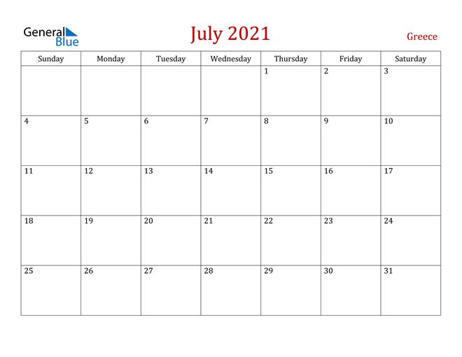 Greece July 2021 Calendar