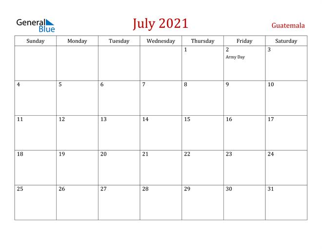 Guatemala July 2021 Calendar