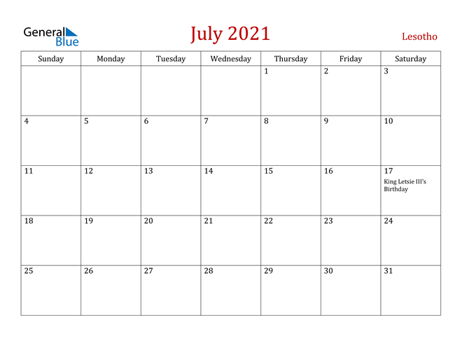 Lesotho July 2021 Calendar