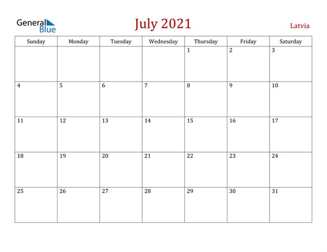 Latvia July 2021 Calendar