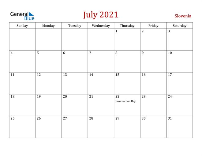 Slovenia July 2021 Calendar