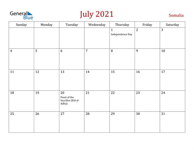Somalia July 2021 Calendar