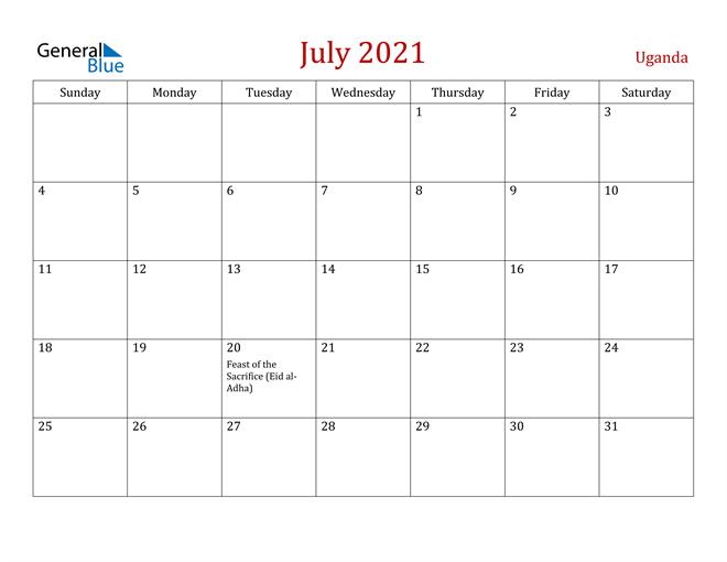 Uganda July 2021 Calendar