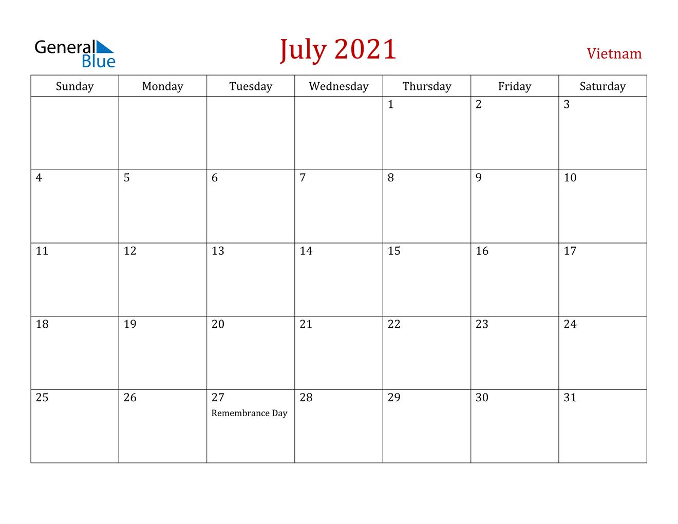 July 2021 Calendar - Vietnam