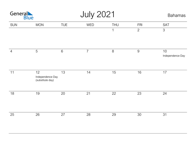 Printable July 2021 Calendar for Bahamas