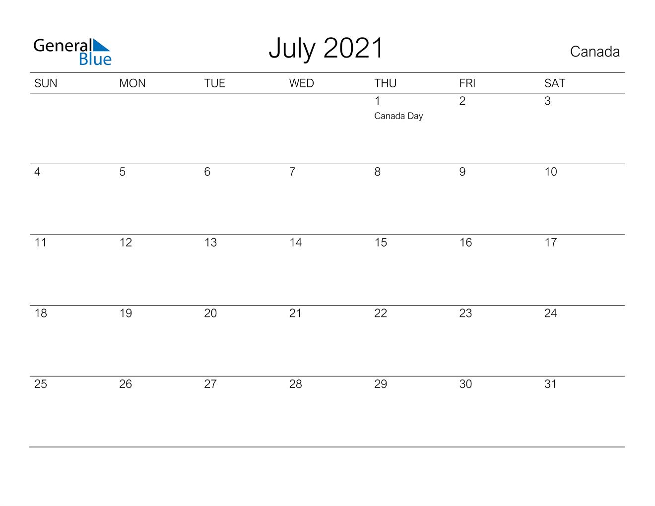 July 2021 Calendar - Canada