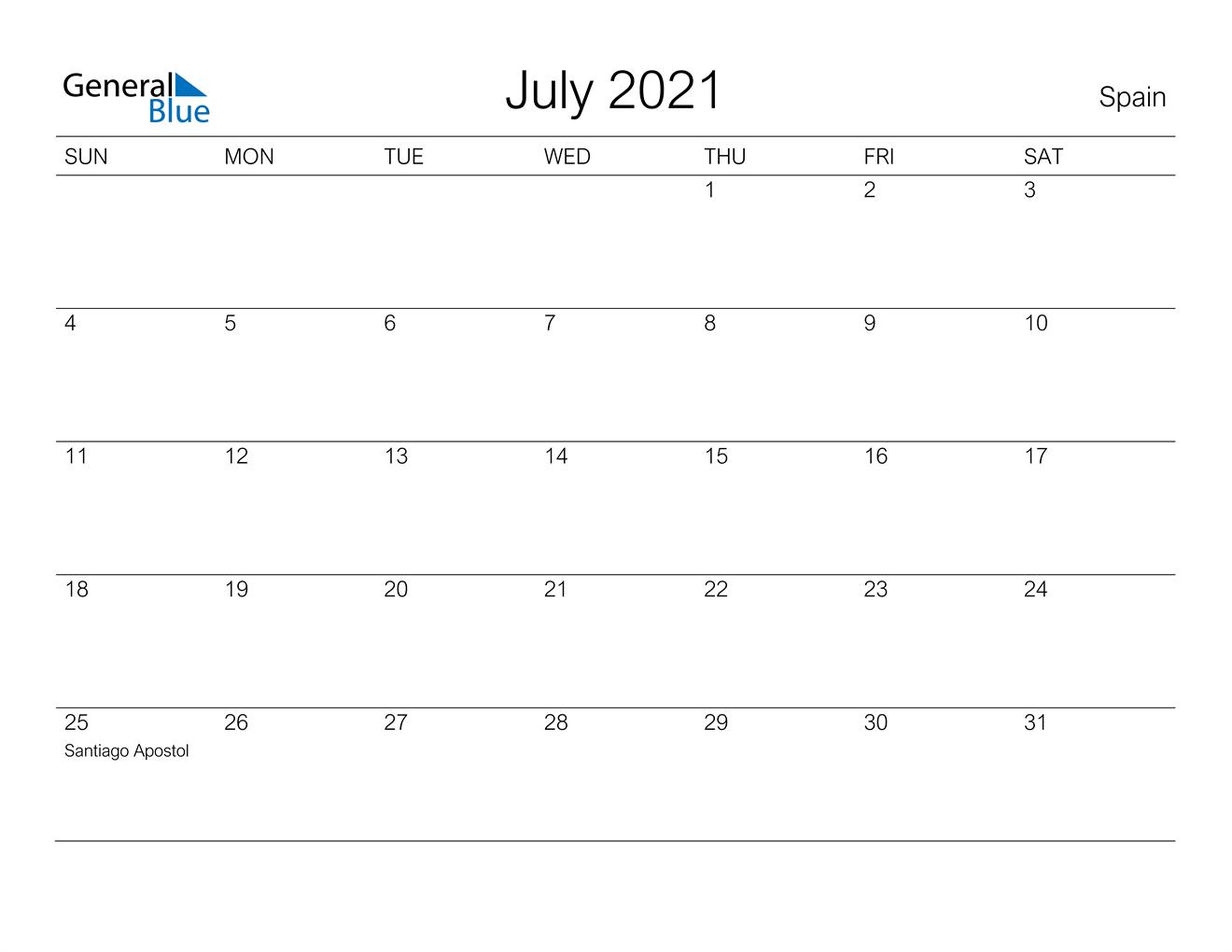 July 2021 Calendar - Spain