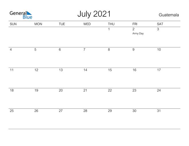 Printable July 2021 Calendar for Guatemala