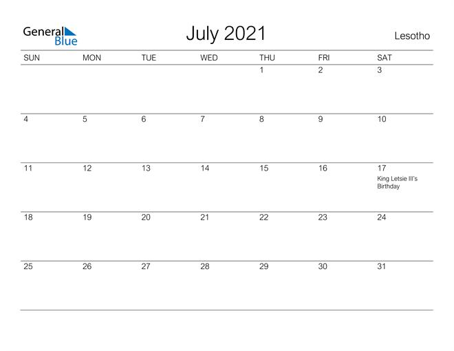 Printable July 2021 Calendar for Lesotho