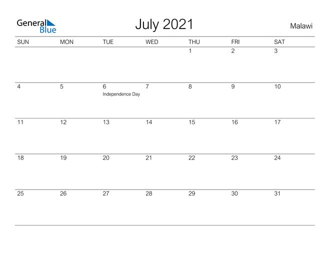 Printable July 2021 Calendar for Malawi