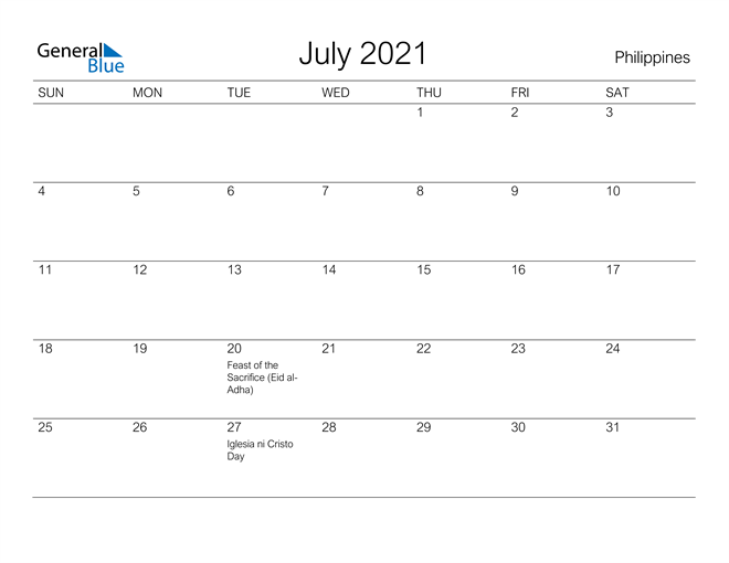 Printable July 2021 Calendar for Philippines