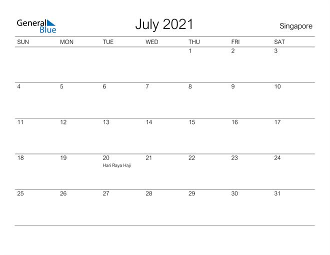 July 2021 A Streamlined Design, The Perfect Printable Calendar. Calendar