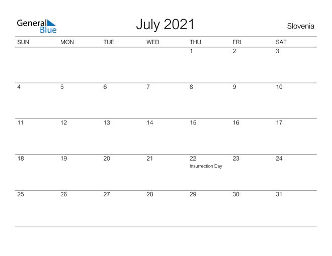 Printable July 2021 Calendar for Slovenia