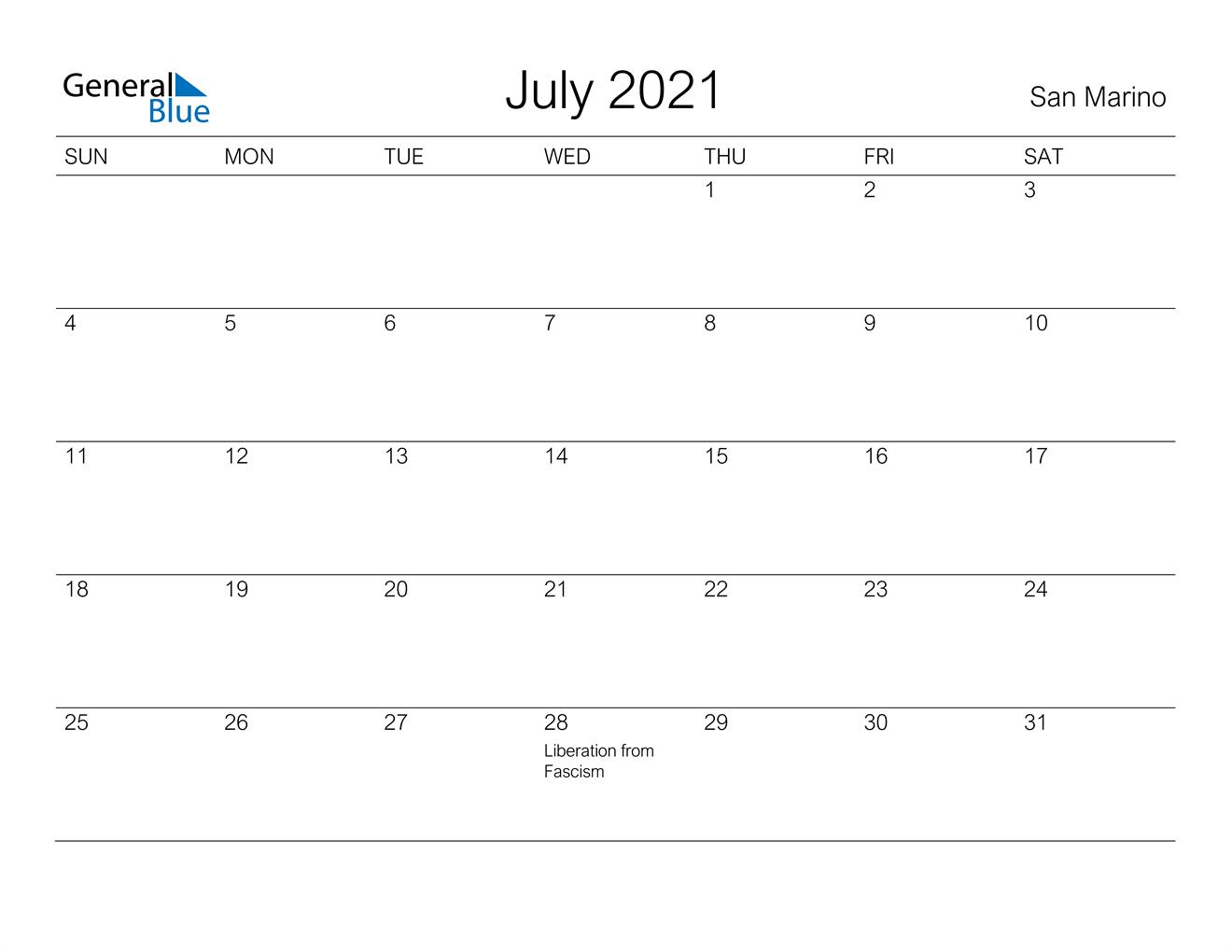 July 2021 Calendar - San Marino