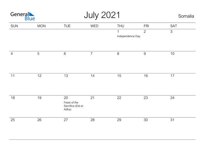Printable July 2021 Calendar for Somalia