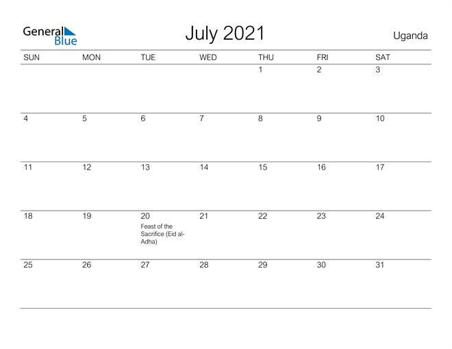 Printable July 2021 Calendar for Uganda