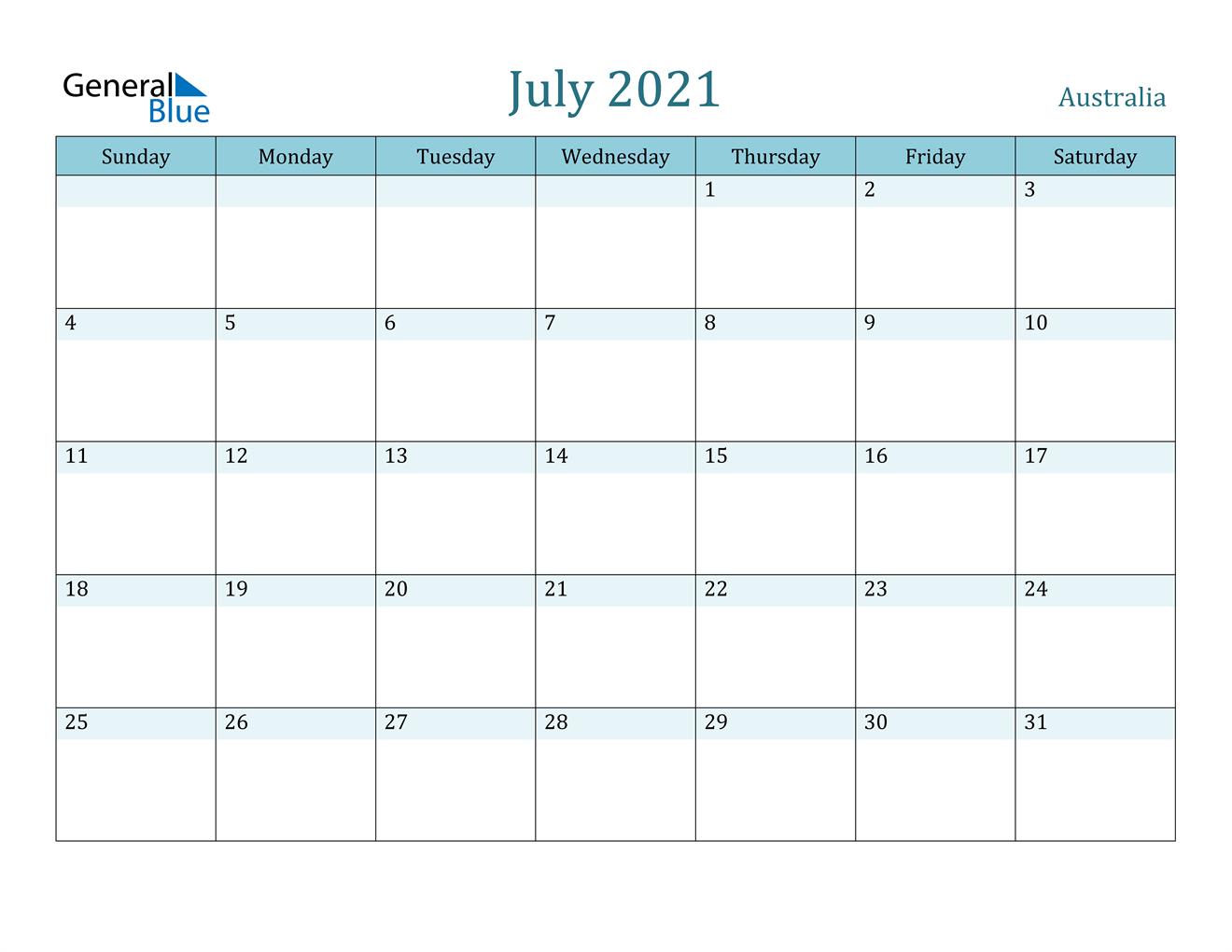 July 2021 Calendar - Australia