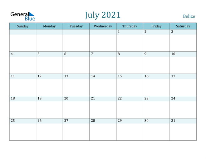 Image of July 2021 Colorful Turquoise Calendar in PDF, Word and Excel Calendar